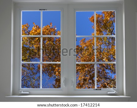autumn window closed - stock photo