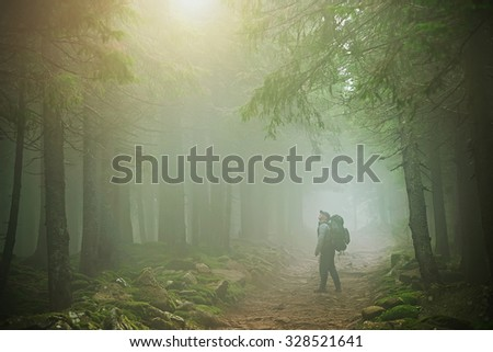 Autumn Winter Carpathians Mountains man fog - stock photo