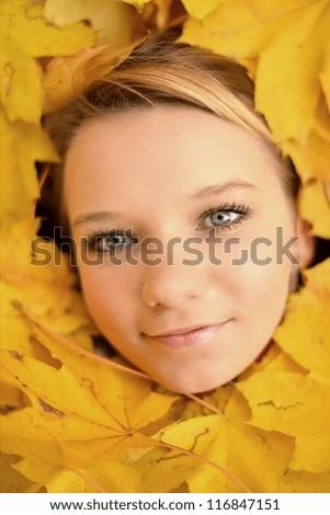Autumn woman - stock photo