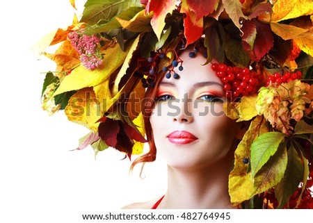 Autumn Woman. Beautiful makeup isolated over white background