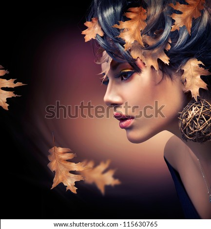 Autumn Woman. Fashion Girl Makeup. Fall Make-up. Hairstyle - stock photo