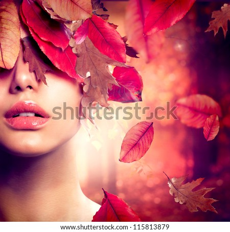 Autumn Woman Fashion Portrait. Fall. Beautiful Girl. Fashion Art - stock photo