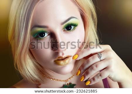 Autumn Woman Fashion Portrait. Fall. Beautiful Girl. Fashion Art - stock photo