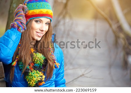 Autumn woman in park