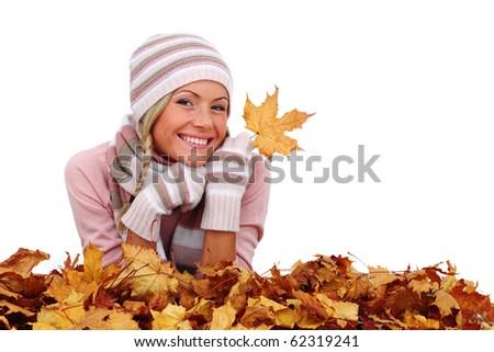 autumn woman in studio - stock photo