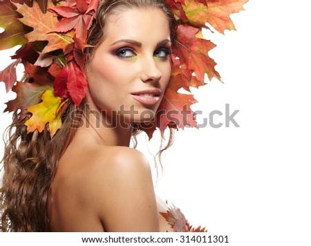 Autumn Woman portrait with creative  makeup  - stock photo