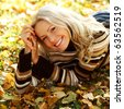 autumn woman portret in park - stock photo