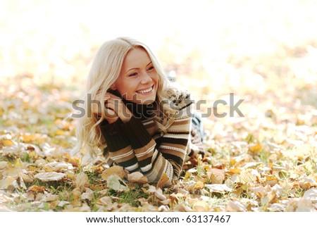 autumn woman portret in park - stock photo
