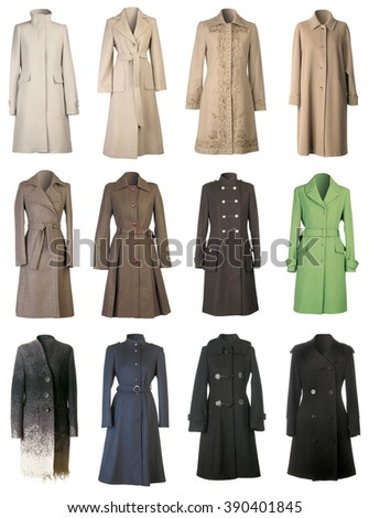 Autumn Woolen Coats Isolated on White Background