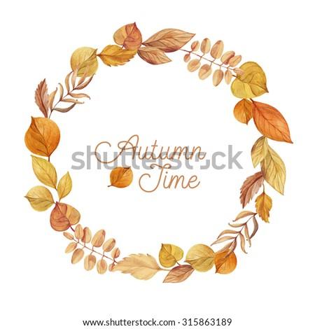 Autumn wreath of leaves hand drawn. Watercolor illustration. Greeting card or Invitation. Autumn decor - stock photo