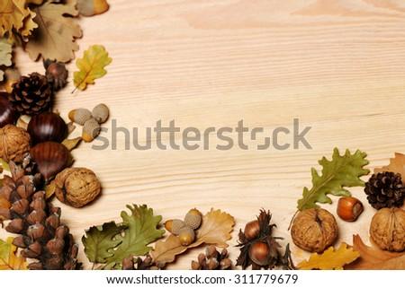 autumnal background - stock photo