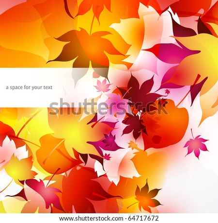 autumnal background with falling leaves