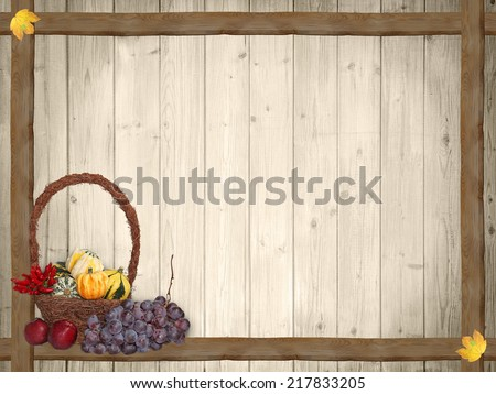 autumnal background with wooden planks and thanksgiving basket, rustic design - stock photo
