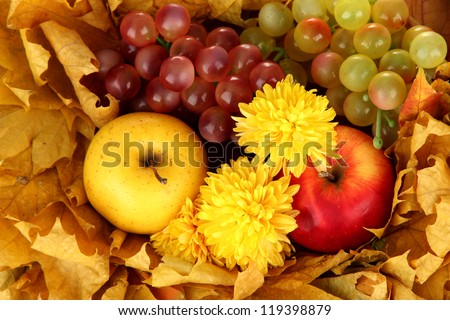 Autumnal composition with yellow leaves, apples and grape background