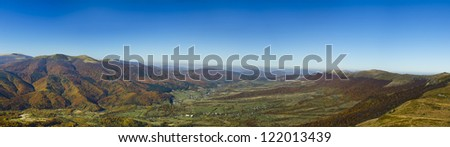 Autumnal Eastern Bieszczady Mountains Panorama. Carpathians. Ukraine