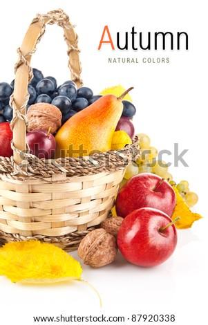 autumnal fruit in basket isolated on white background - stock photo