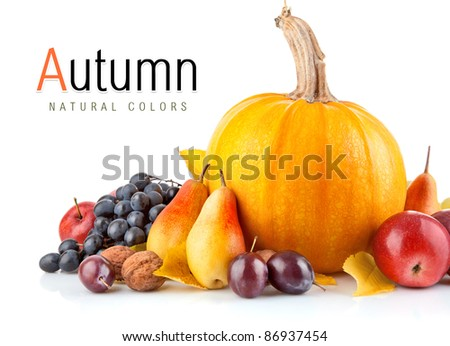 autumnal fruit with yellow leaf isolated on white background - stock photo