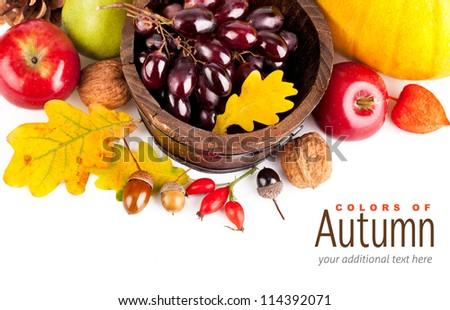 autumnal harvest fruits and vegetables with yellow leaves isolated on white background - stock photo