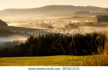 autumnal landscape in fog, Sumava, Czech Republic - stock photo