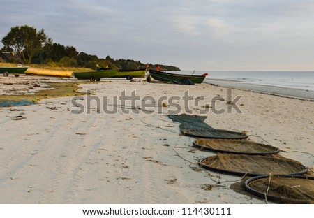 Autumnal morning at a village of fishermen, Kurzeme, Latvia, Europe - stock photo