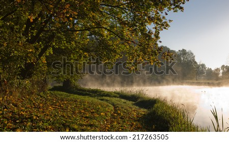 Autumnal park and pond bank in the bright sunny morning - stock photo