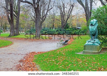 Autumnal Park Luxembourg in Paris, France - stock photo