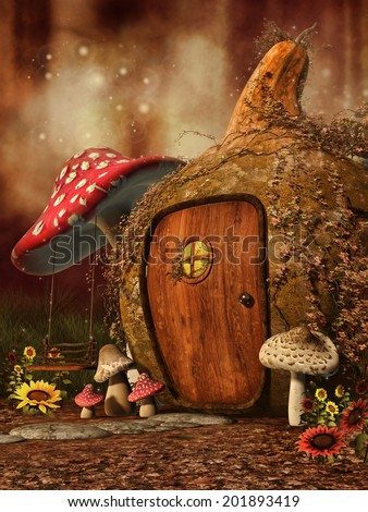 Autumnal scenery with a fairy cottage, mushrooms and sunflowers - stock photo