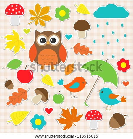 Autumnal stickers. Raster version - stock photo