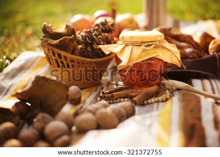 Autumnal still life composition with honey mushrooms, white champignon, green, yellow, brown, orange and red leaves, sprigs, pine cones, dry fruits (chestnuts, chestnuts bur, walnuts and hazelnuts)  - stock photo