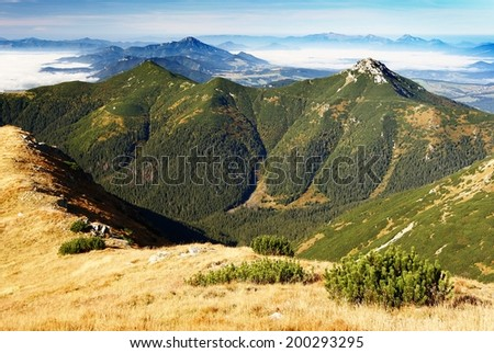 autumnal view from rohace mountains to chocske vrchy and mala velka fatra - west high tatra mountains- Slovakia  - stock photo
