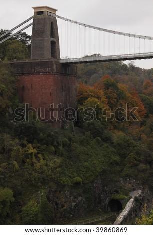 Autumnal view of the Clifton suspension Bridge over the Avon Gorge, Bristol UK - stock photo