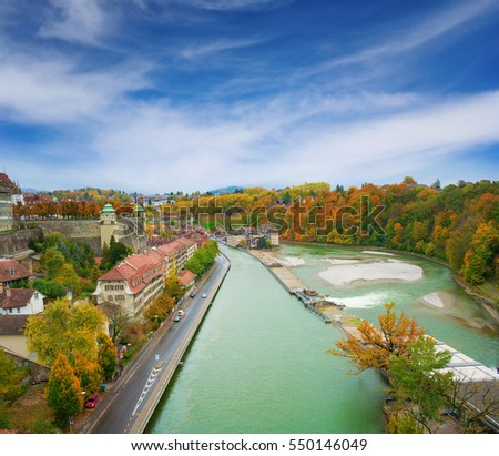 Autumnal view river Aar in Bern, cityscape, Switzerland