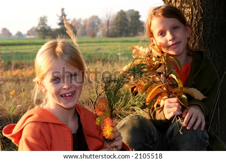 Autumnal walk - stock photo