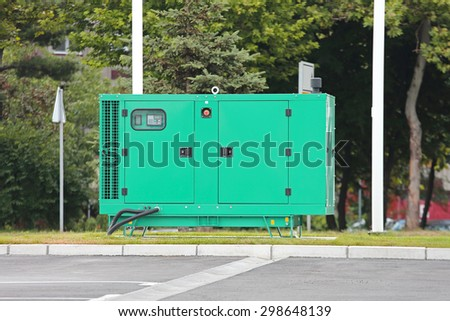 Auxiliary Diesel Eenerator for Emergency Electric Power - stock photo