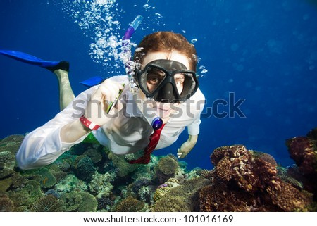 Available by cell phone everywhere -  even underwater - man having a conversation underwater - stock photo