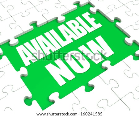 Available Now Puzzle Showing Product In Stock Or Order - stock photo