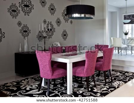 Avant garde looking dining room - stock photo