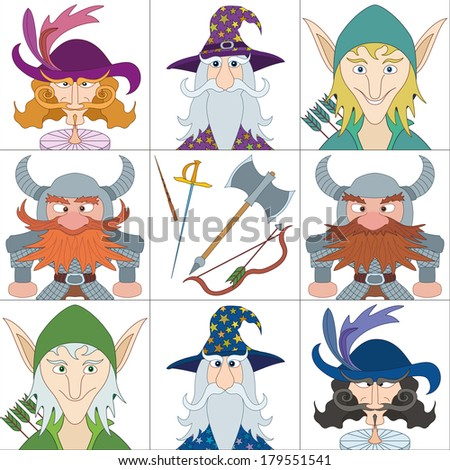 Avatar faces of fantasy brave heroes: elf, dwarf, wizard and noble cavalier, funny comic cartoon user icons and weapons of heroes, set. - stock photo