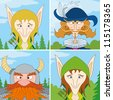 Avatar faces of fantasy brave heroes: two elves, dwarf and noble man, funny comic cartoon user icons, set - stock vector