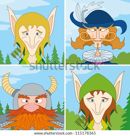Avatar faces of fantasy brave heroes: two elves, dwarf and noble man, funny comic cartoon user icons, set - stock photo