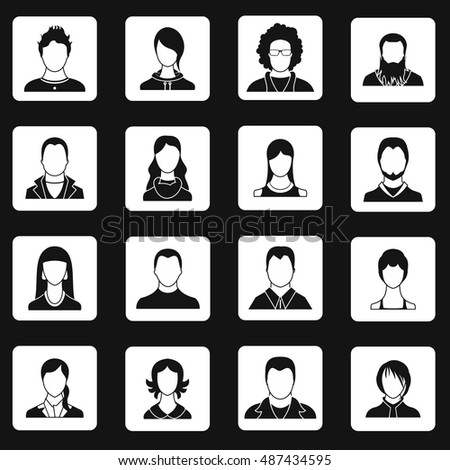 Avatar icons set in simple style. Male and female characters set collection  illustration