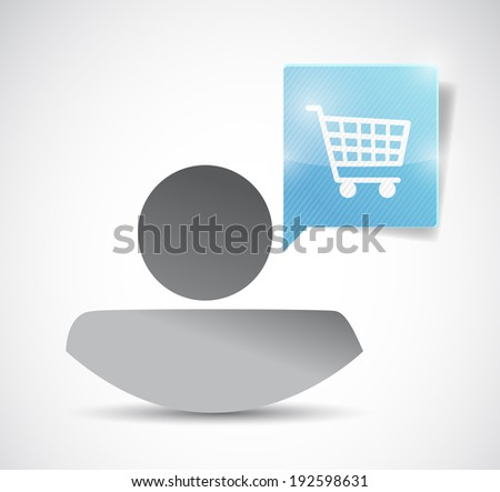 avatar message bubble and shopping cart illustration design over a white background - stock photo