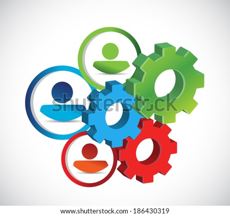 avatars and gears. industrial concept illustration design over a white background - stock photo