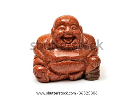 Aventurine statuette Budai isolated on white background