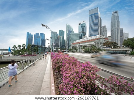 avenue and promenade with financial district on the background - stock photo