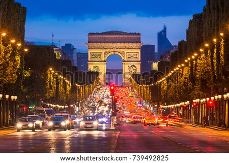Avenue des Champs Elysees and Arc de Triomphe at night, Paris