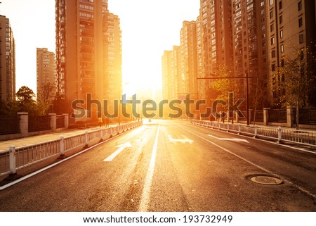 avenue in modern city - stock photo