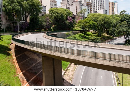 Avenue viaduct on May 23 in sao paulo - stock photo