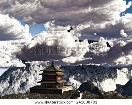 Avesome cloudscape over Buddhist Temple in mountains - stock photo
