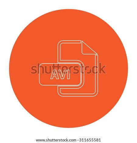 AVI video file extension. Flat white symbol in the orange circle. Outline illustration icon - stock photo